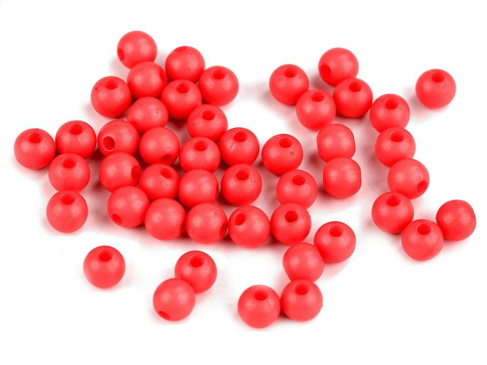 Textillux.sk - produkt Plastové korálky Color Ø6 mm - 4 (S008) červená sv.