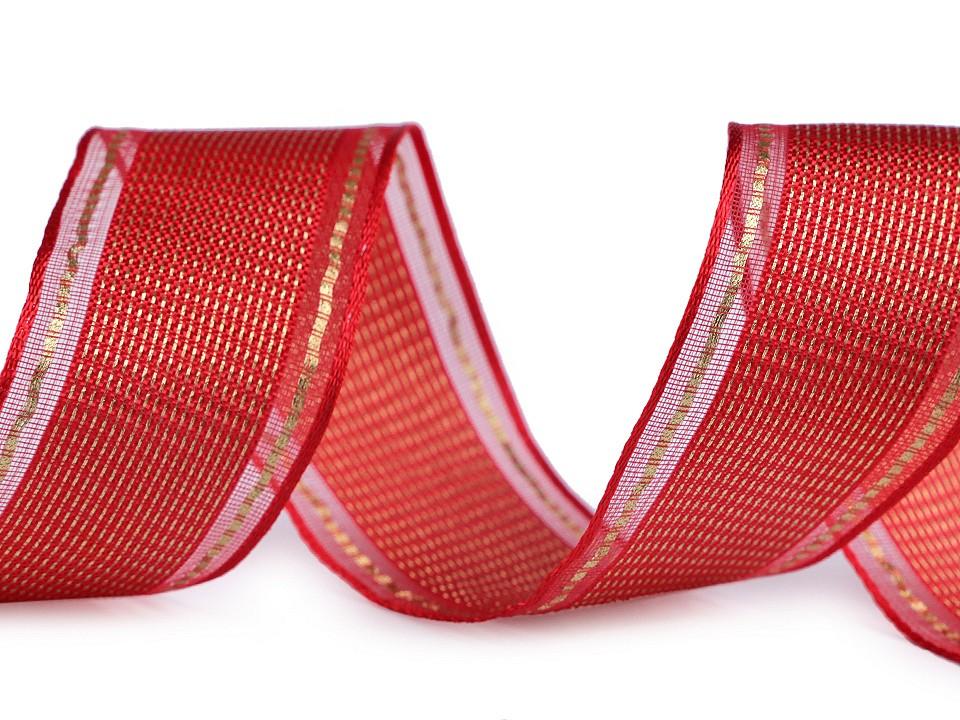 Textillux.sk - produkt Vianočná stuha s lurexom a drôtom šírka 40 mm