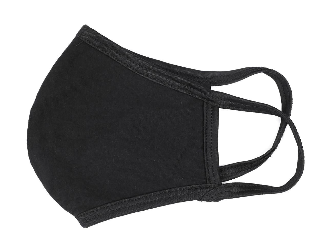 Textillux.sk - produkt Rúško z bavlneného úpletu 2vrstvé - 2 (vel. M) čierna