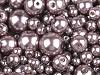 Perle sticlă lucioase, mix mărimi, Ø4-12 mm