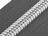 Spirálový zip se stříbrnými zoubky šíře 7 mm délka 55 cm
