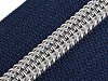 Spirálový zip se stříbrnými zoubky šíře 7 mm délka 80 cm