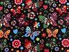 Bavlněná látka motýli a květy