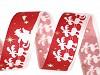 Vánoční taftová stuha Santa se soby šíře 25 mm