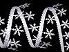 Vánoční saténový prýmek šíře 25 mm vločky s glitry