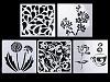 Plastová šablona srdce, květy, nápisy, ornamenty 13x13 cm