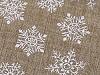 Woreczek podarunkowy śnieżynki z brokatem 30x40 cm imitacja juty