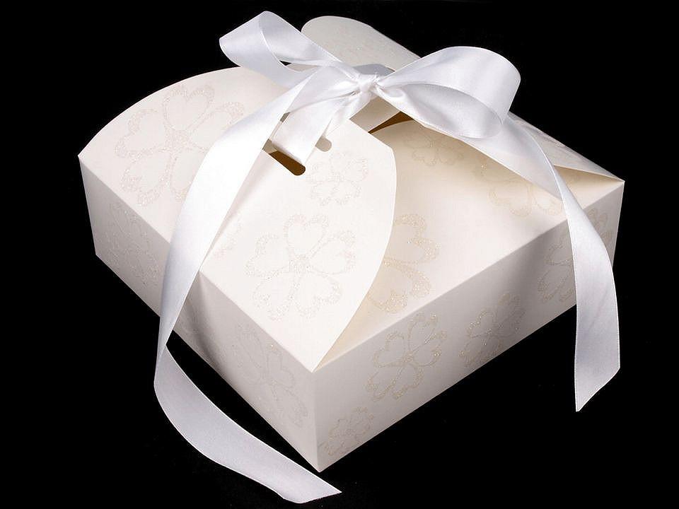 Papírová krabička se stuhou a glitry 5 ks