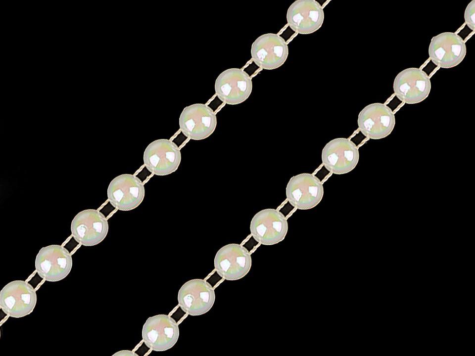 Perlový řetěz - půlperle Ø6 mm 22.5 ks