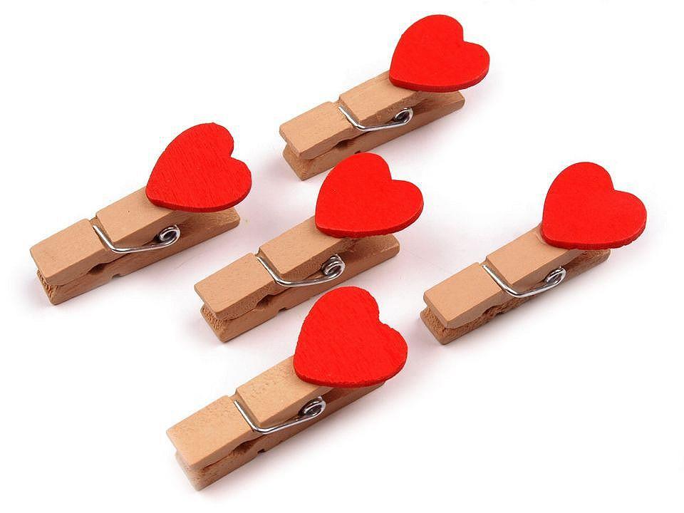 Kolíčky srdce 90 ks