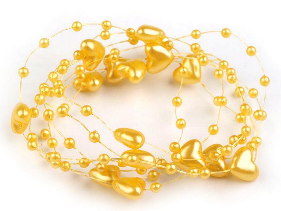 Perličky na silonu Ø10 mm délka 130 cm srdce 20 ks