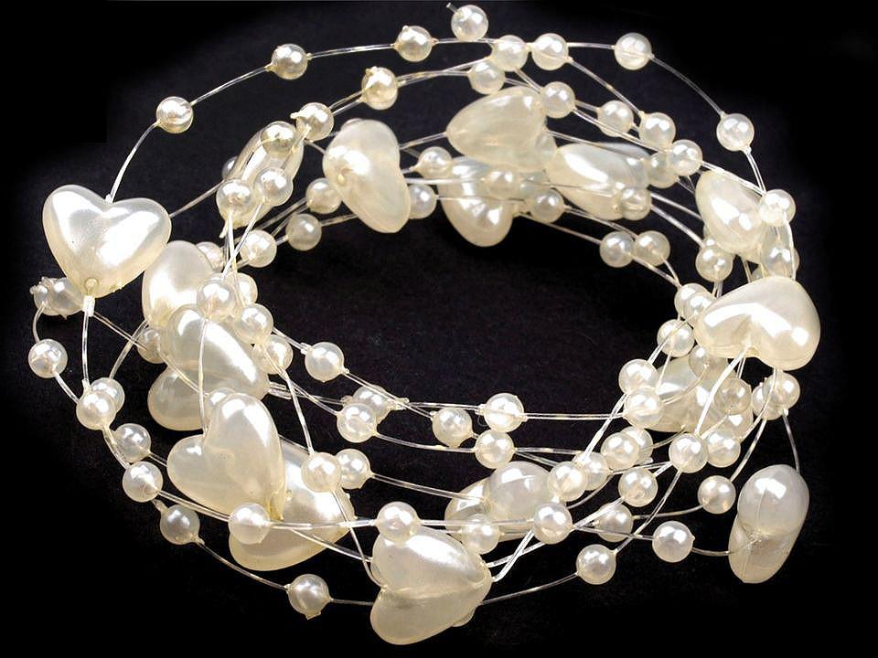 Perličky na silonu Ø10 mm délka 130 cm srdce 1 ks