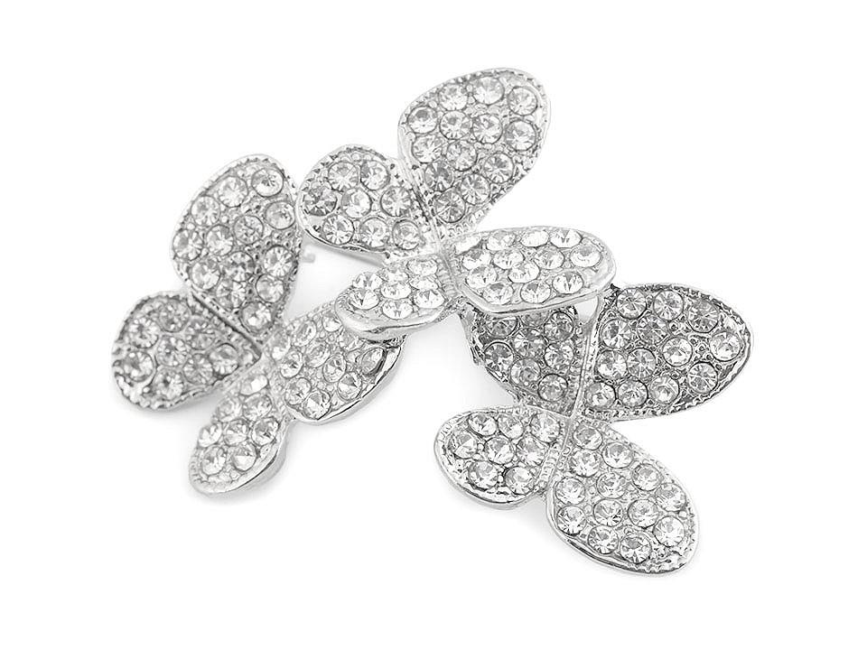 Brož s broušenými kamínky motýlci 1 ks