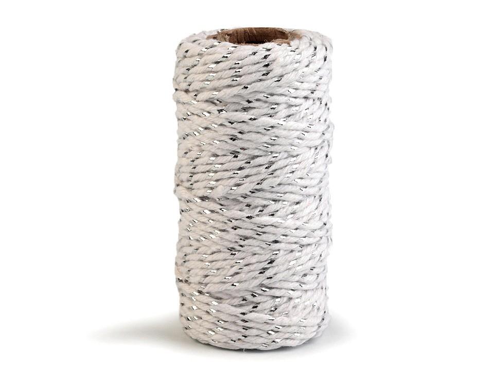 Bavlněná šňůra / provázek Ø1,5 mm s lurexem 1 ks