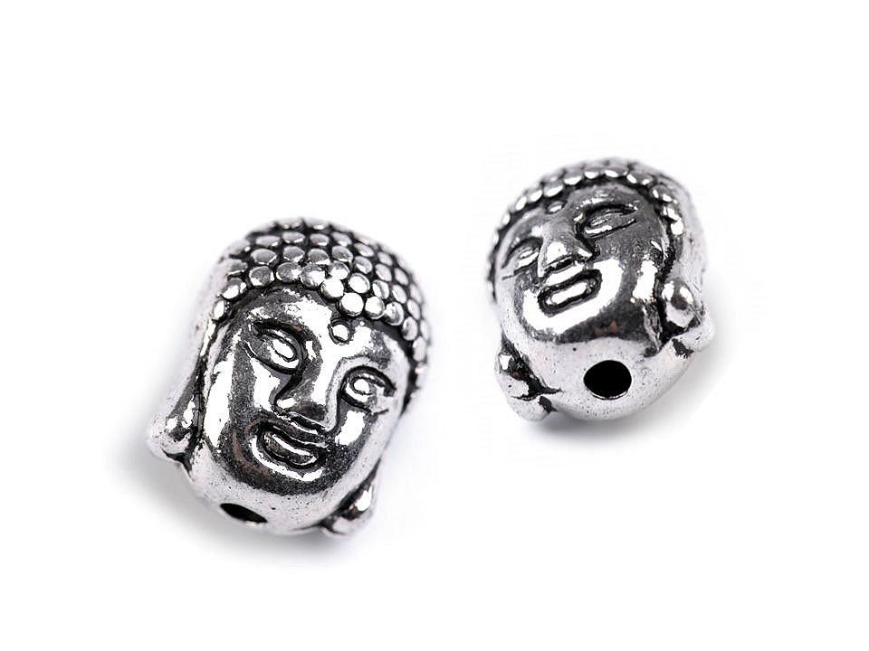 Kovový korálek Buddha 9x11 mm 10 ks