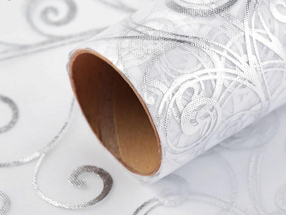 Vánoční / svatební organza s potiskem šíře 36 cm 4.5 ks