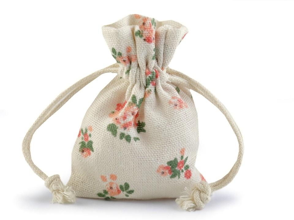 Bavlněný pytlík s květy 10x12 cm 10 ks