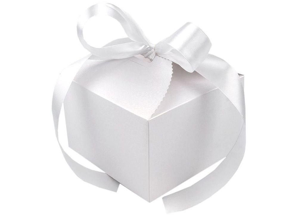 Papírová dárková krabička svatební se stuhou 10 ks