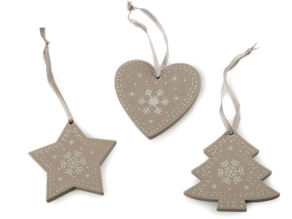 Dřevěná vánoční dekorace sada 3 ks 1 ks