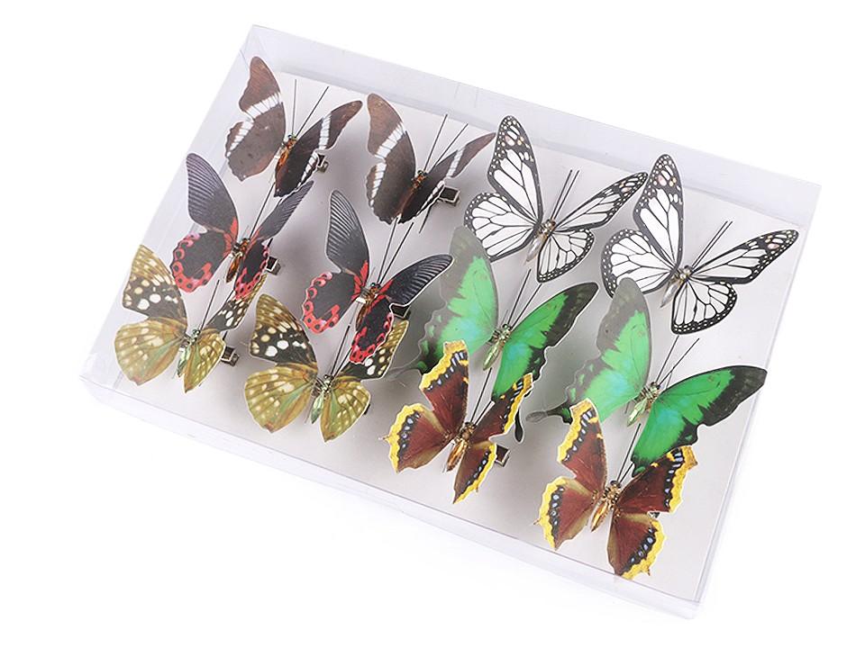 Dekorace motýl 3D s klipem 12 ks