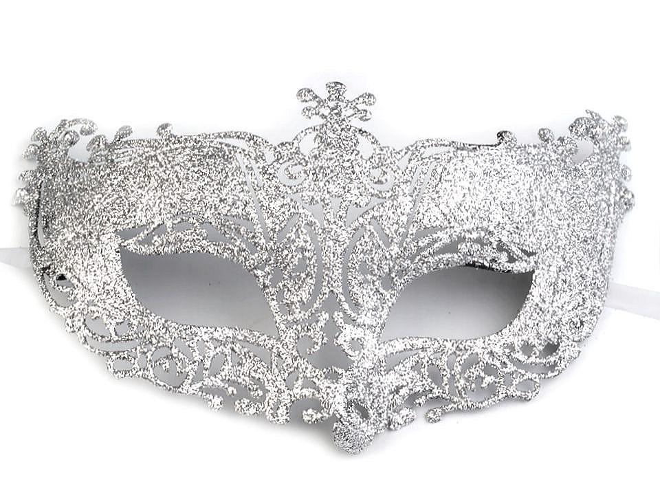 Karnevalová maska - škraboška s glitry 1 ks
