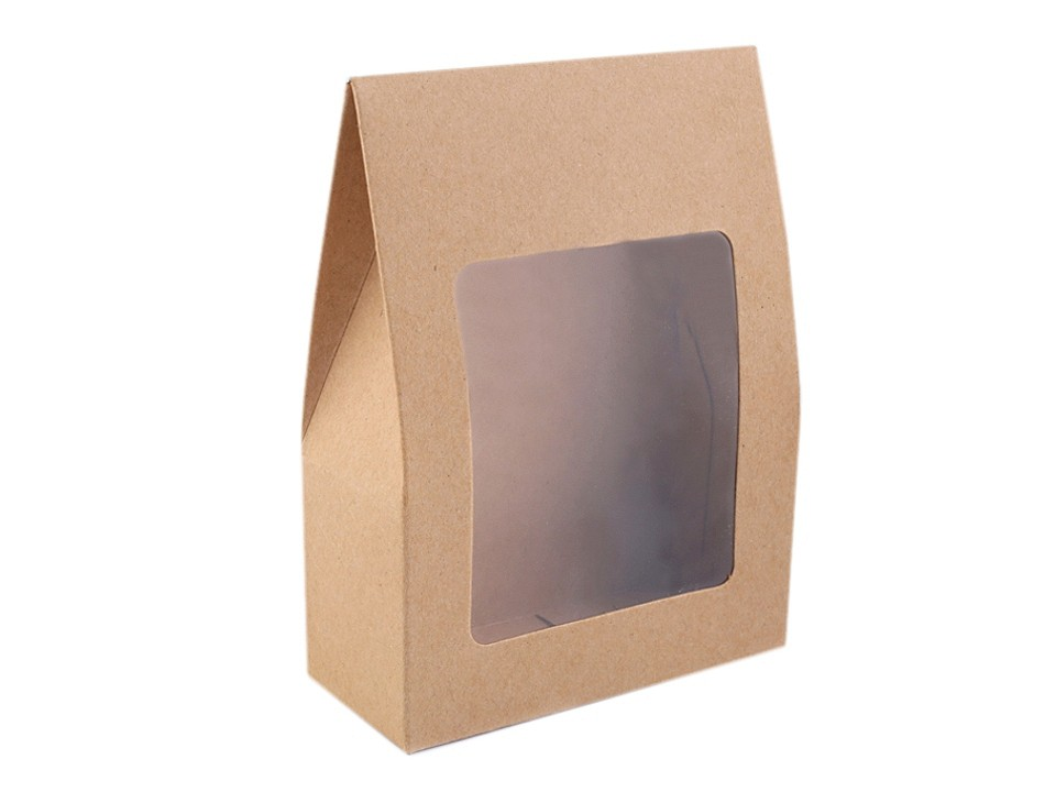 Papírová krabice natural s průhledem 10 ks