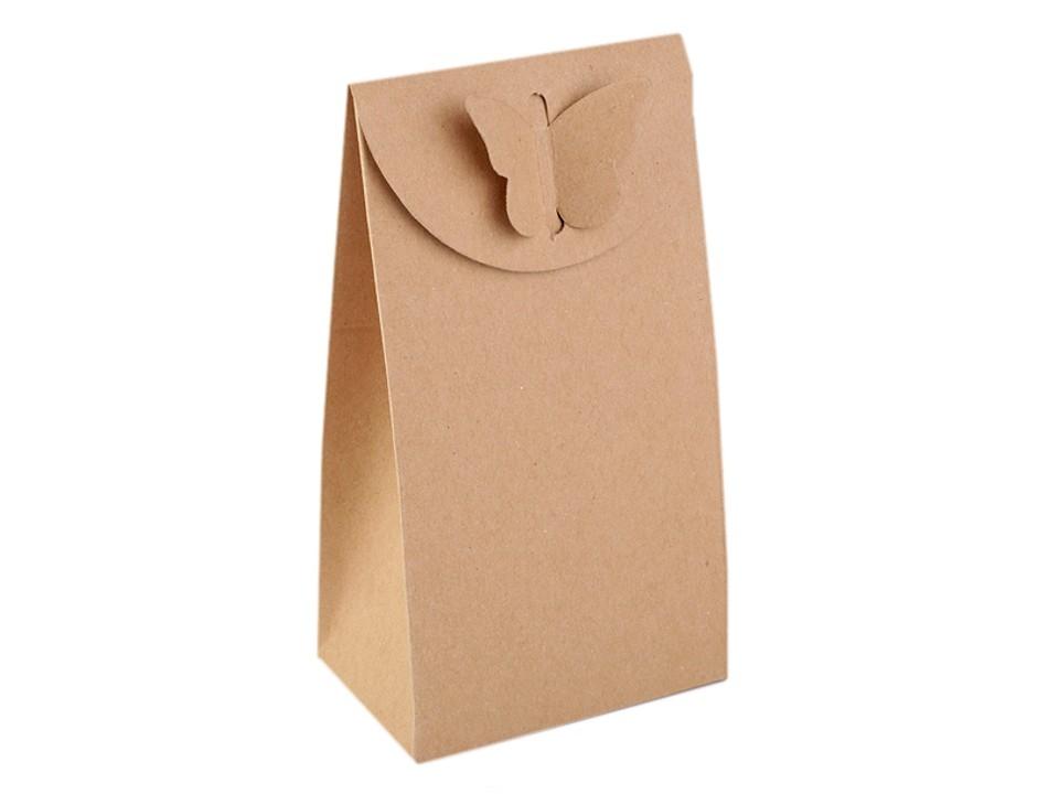 Papírová krabička natural s motýlem 10 ks