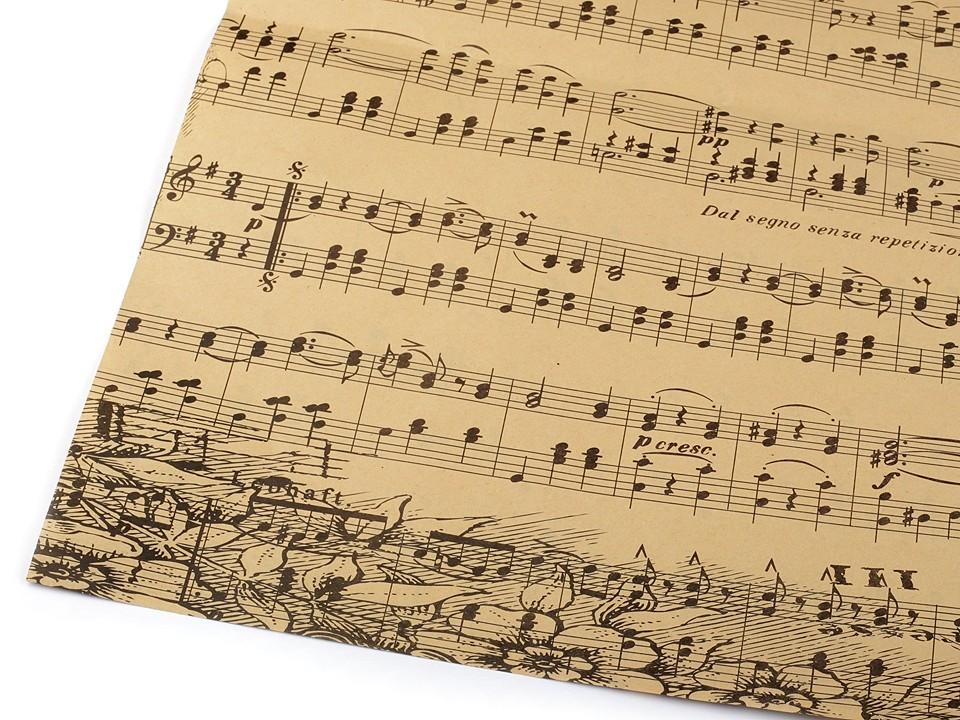 Balicí / dekorační papír noty 50x75 cm 4 ks