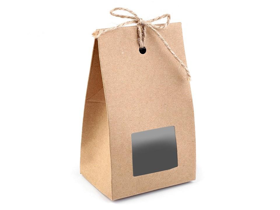Papírová krabička natural s průhledem a provázkem 10 ks