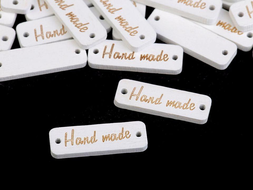 Dřevěná cedulka / ozdoba Handmade 10x30 mm 10 ks