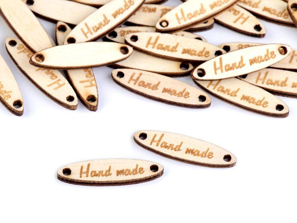 Dřevěná cedulka / ozdoba Handmade 6x27 mm 10 ks