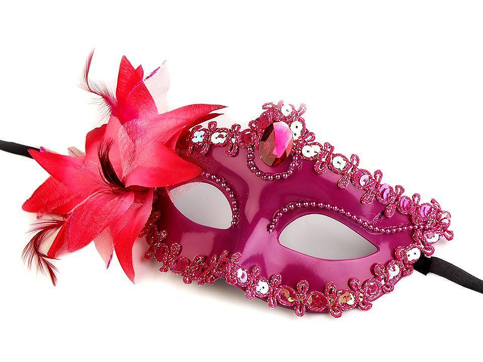 Karnevalová maska - škraboška s květem 1 ks