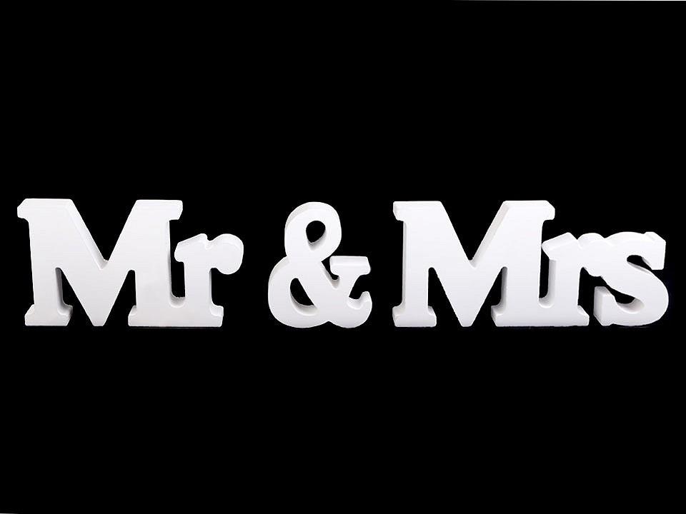 Dřevěná dekorace Mr a Mrs 1 ks