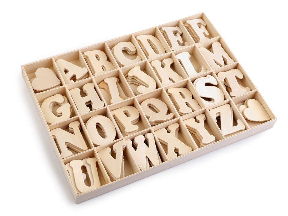 Samolepicí dřevěná písmena v krabici 1 ks