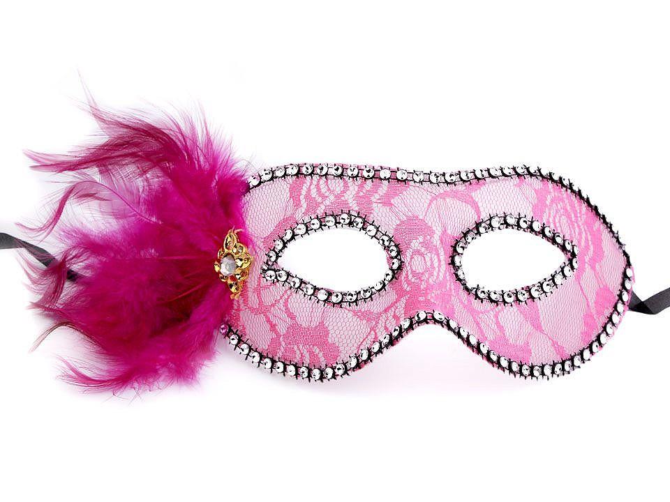 Karnevalová maska - škraboška krajka s peřím 4 ks