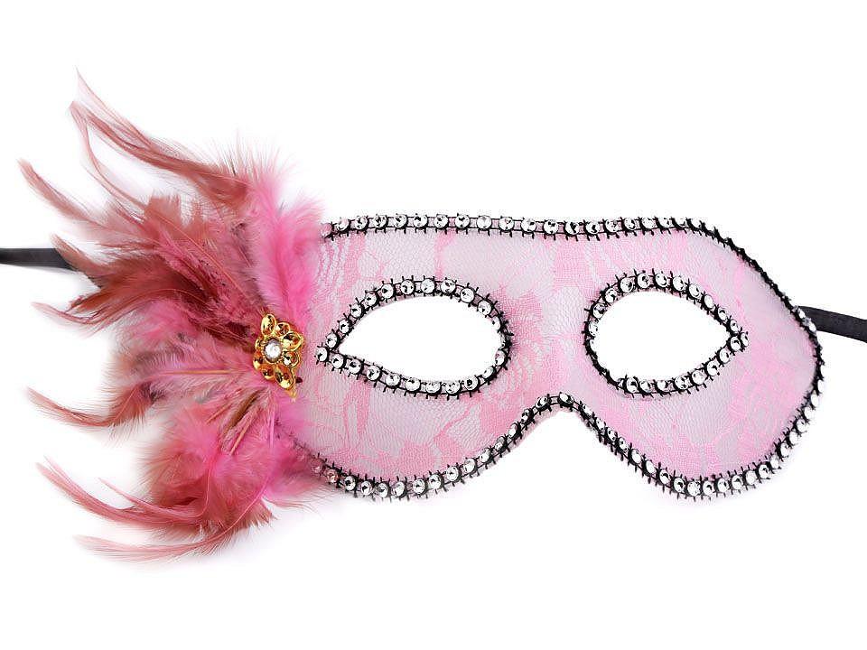 Karnevalová maska - škraboška krajka s peřím 1 ks