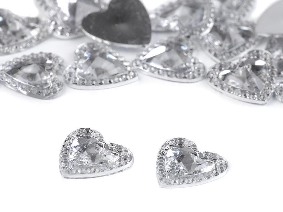 Broušené srdce a kamínky k nalepení 100 ks