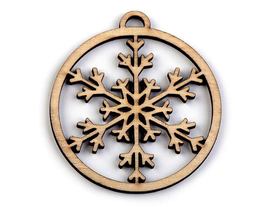Dřevěný výřez baňka, anděl, vločka, stromeček  Ø45 mm 12 ks