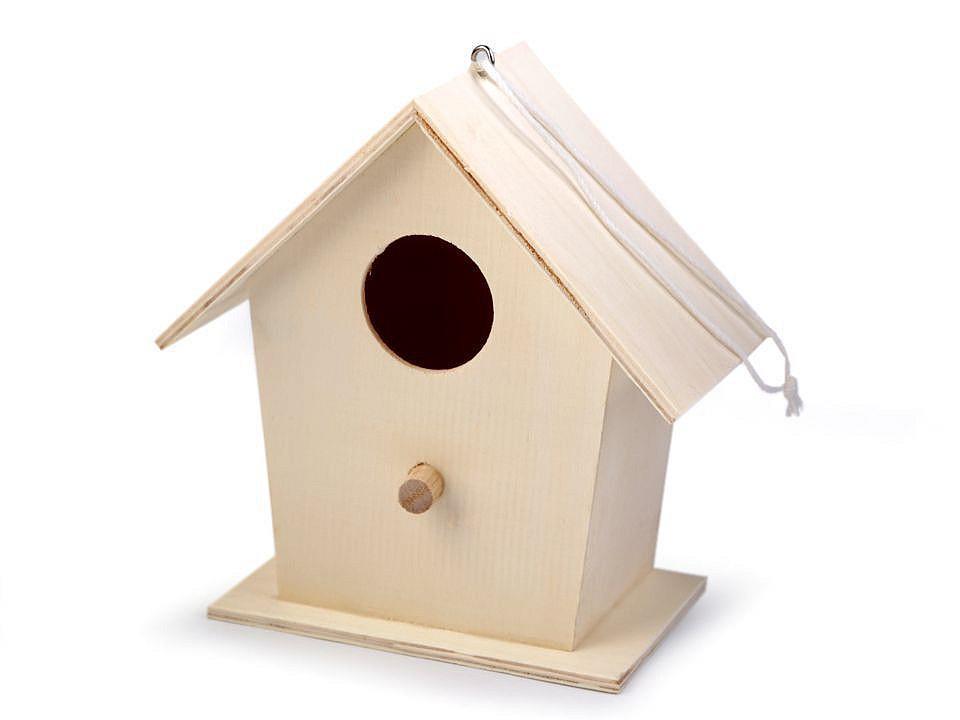 Dřevěná ptačí budka k domalování 1 ks