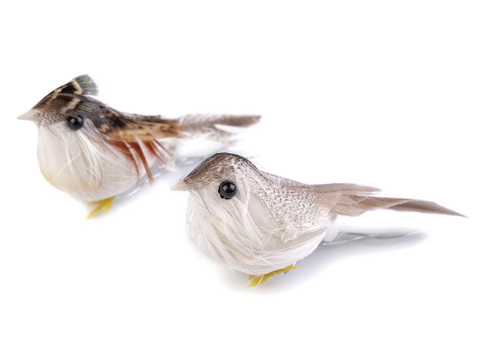 Dekorace ptáček s drátkem 12 ks