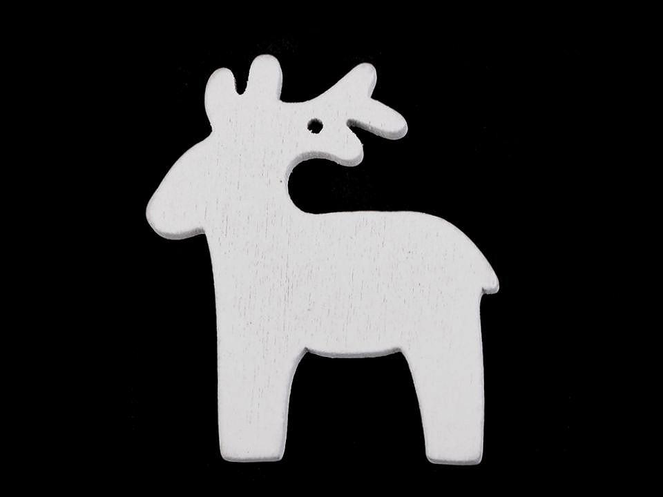 Dřevěné dekorace vánoční vločka, hvězda, stromeček, zvoneček, koník, sob k zavěšení / k nalepení 6 ks