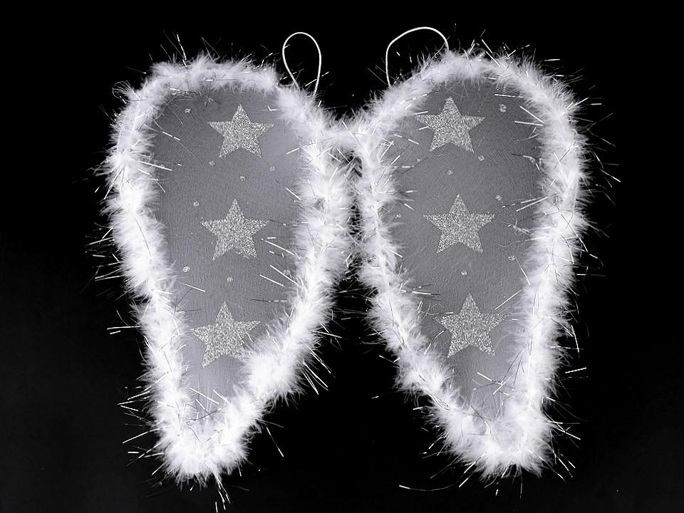 Andělská křídla s peřím a glitrovými hvězdami 1 ks