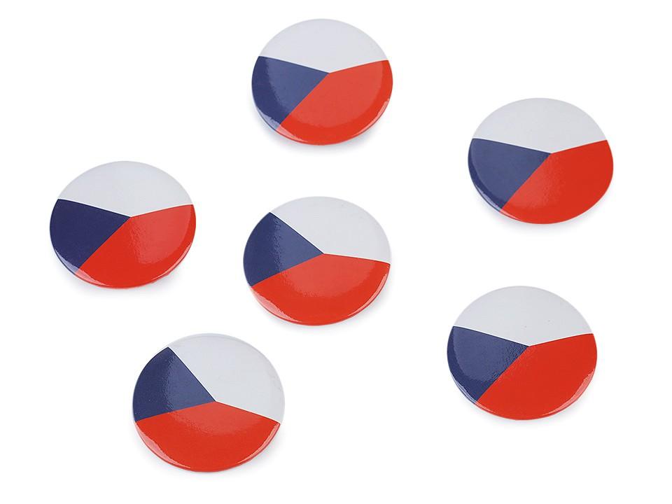 Placka - vlajka Česká republika Ø3,5 cm 6 ks