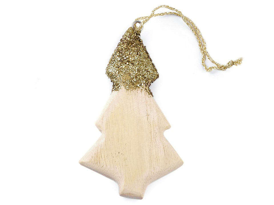 Dřevěný stromeček a hvězda s glitry 1 ks