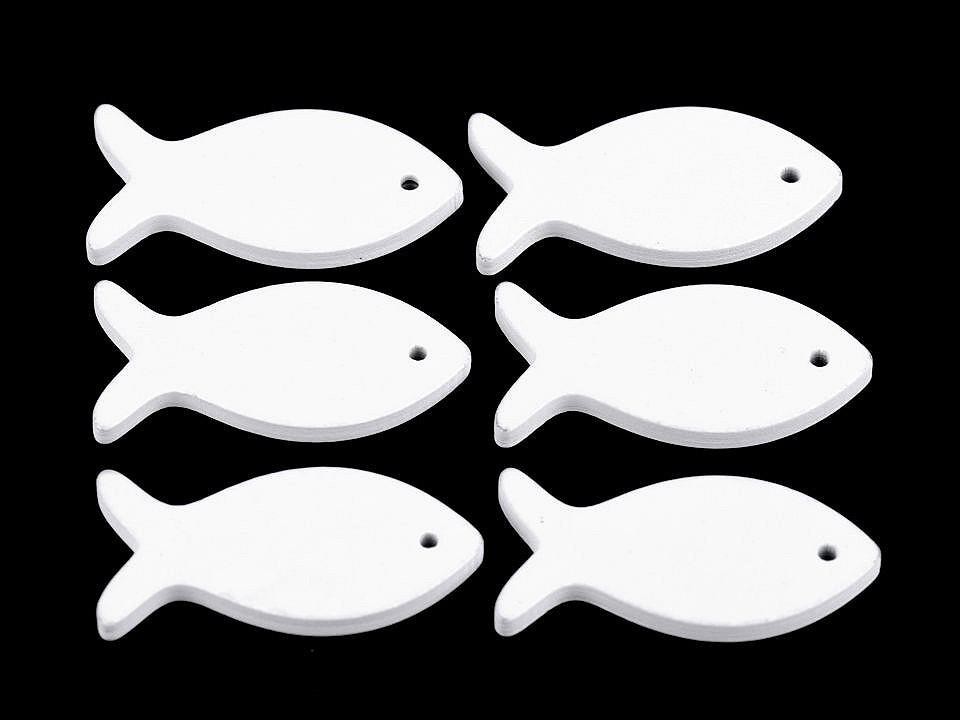 Dřevěná ryba, kapr, kotva k zavěšení  / k nalepení / k domalování 6 ks