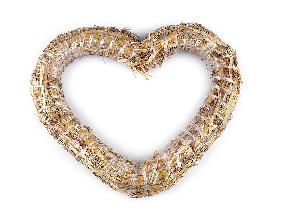 Slaměné srdce Ø30 cm 1 ks