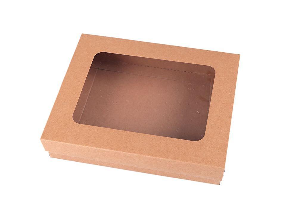 Papírová krabice natural s průhledem 20 ks