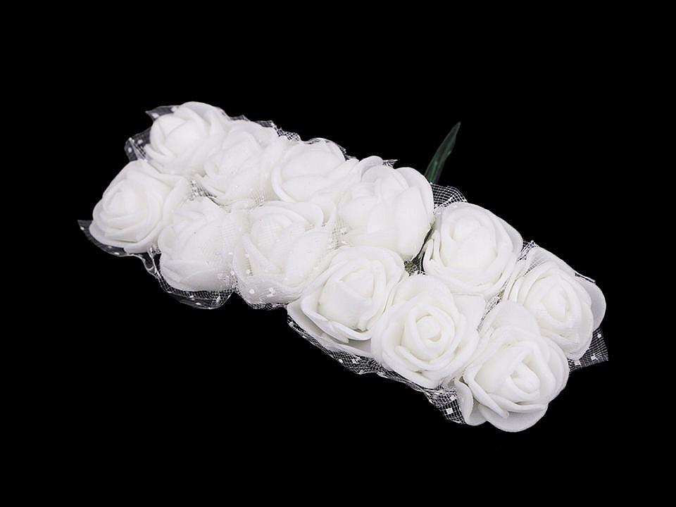 Růže na drátku / polotovar na vývazky s tylem Ø25 mm 1 ks