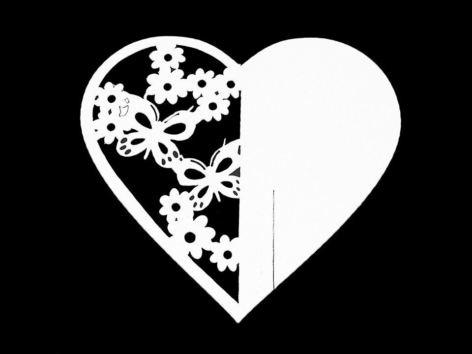 Jmenovka papírová na skleničky srdce natural, perleťová 10 ks