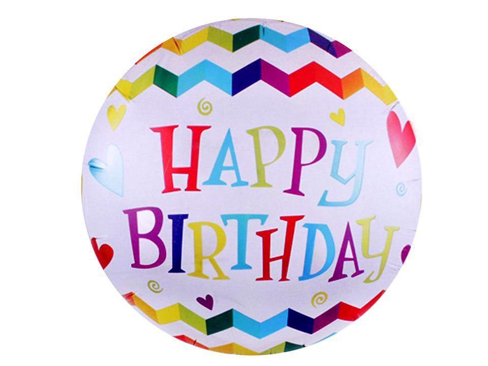 Nafukovací balónek velký Happy Birthday, smajlík 1 ks